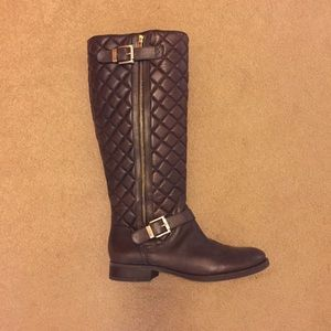 Vince Camuto Brown Leather Quilted Boots