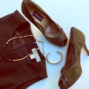 Vaneli Shoes - Vaneli Green Suede Buckle Open Toe Pumps