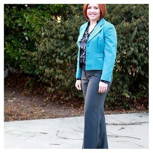 Blue cropped wool blazer