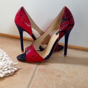 Sophia & Lee Faux Snakeskin D'Orsay Heels