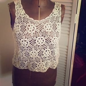 Tops - 5/25 White Crochet top