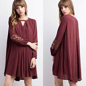 ‼️LAST ONE‼️Crochet Trimmed Button Babydoll Dress