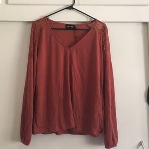 Lace insert long sleeve