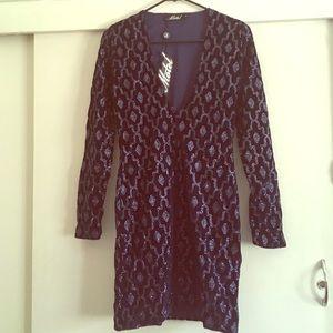Deep-V sequined dress
