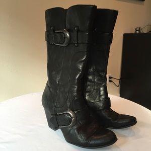 born born black leather heeled cowboy boots from amanda