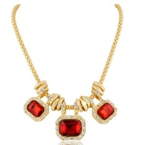 Jewelry - 18K GOLD PLATED RUBY RED GLASS & CRYSTAL Necklace