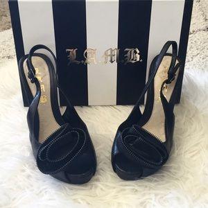 L.A.M.B. Shoes - L.A.M.B. Rosette Leather Heel Sydney Black Rose