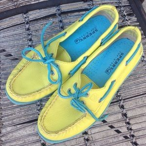 Sperry Top-Sider Shoes - Sperry Top-Siders Neon Yellow and Aqua - Size 6.5