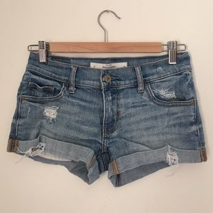 Abercrombie & Fitch Pants - Abercrombie & Fitch Light Denim Destroyed Shorts