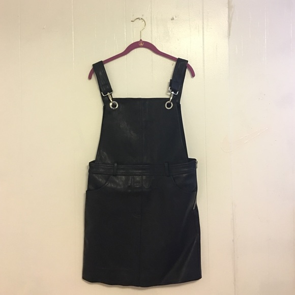 233e844a5ac Black Leather Skirt Overalls