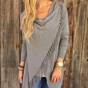 Sweaters - Gray asymmetrical cape jacked coat poncho fringe