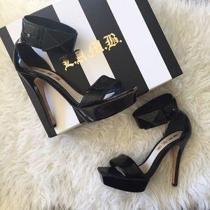 L.A.M.B. Shoes - L.A.M.B. Sarina Platform Heel Black Stud Sexy Shoe