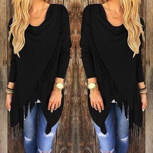 Sweaters - black asymmetrical cape jacket coat with fringe