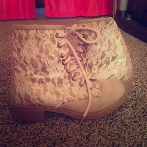 Floral Lace Combat Boot