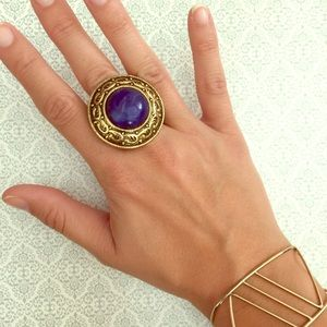 Vintage Jewelry - Adjustable Blue Gold Ring