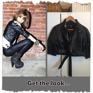 Bebe Black Leather Crop Bolero Motorcycle Jacket