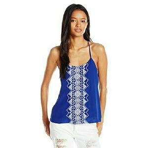 My Michelle Tops - Embroidered Cobalt High-Low Split Back Top NWT