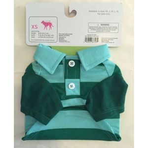 Other - Dog pet costume green striped polo shirt XS