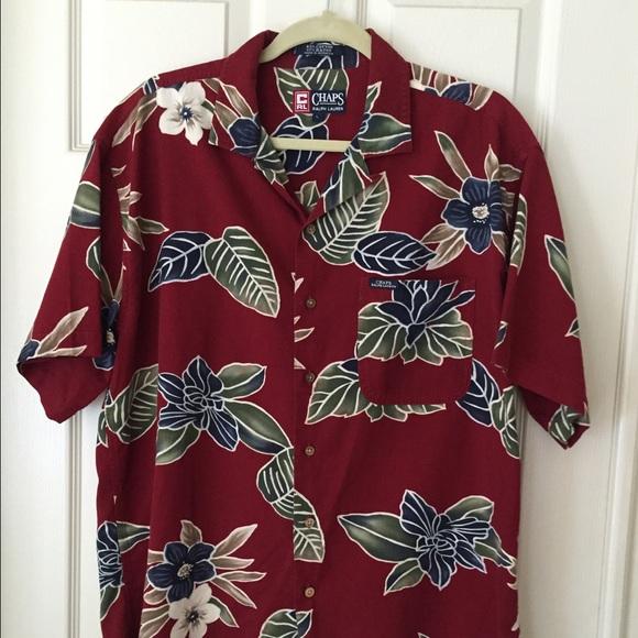 4773be6280ae6a Chaps Shirts | Vintage Ralph Lauren Hawaiian Shirt Red L | Poshmark