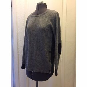 J Crew Side Button Sweater Gray Elbow Patch