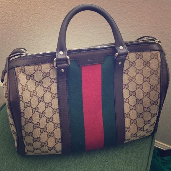 0db17df3bae5 Gucci Handbags - GUCCI Vintage web original GG canvas Boston bag