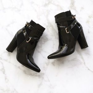 Style Link Miami Shoes - BLACK PATENT POINTY TOE BOOTIES