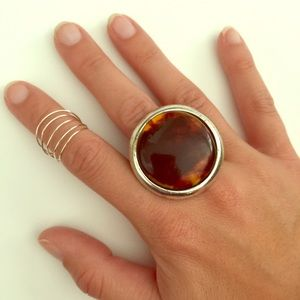 Jewelry - Silver Brown Adjustable Ring