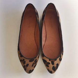 Madewell Leopard Calf Hair Sidewalk Skimmer Flat