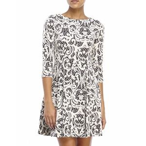 NWT Eliza J black cream lace sleeves dress skater