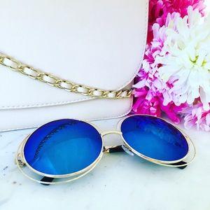 Erica Rose Accessories - Zoë Sunglasses    Gold & Blue Mirror Circle