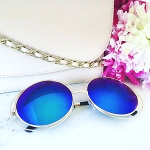 "Erica Rose Accessories - ""Zoë"" Sunglasses    Gold & Green Mirror Circle"