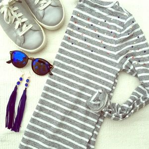 J crew striped jeweled top