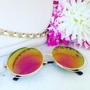 Erica Rose Accessories - Zoë Sunglasses    Gold & Magenta Mirror Circle