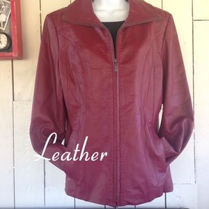 East 5th Jackets & Blazers - Burgundy/Red Leather Jacket