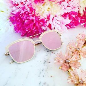 "Erica Rose Accessories - 🆑 ""Sonja"" Sunglasses    Gold & Light Pink Mirror"