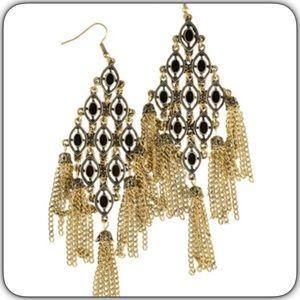 Jewelry - Burnish Gold Black Drop Fringe Chain Earrings New