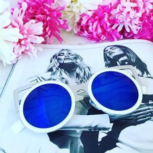 """Erica Rose Accessories - """"Daria"""" Sunglasses    White & Blue Mirror Cat Eye"""
