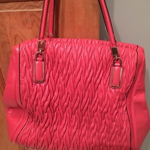 Coach coral leather pleated satchel