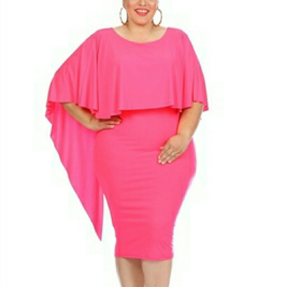 Plus Size Waterfall Cape Hot Pink Dress NWT