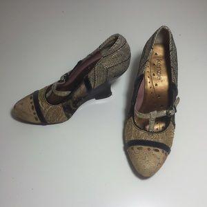 Kenzie vintage inspired, wooden heel wedges