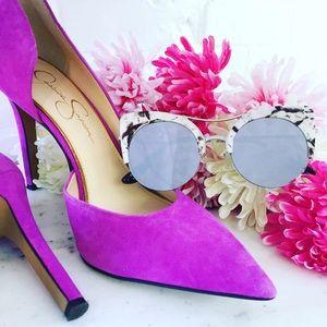 """Erica Rose Accessories - """"Eliza"""" Sunglasses    White Marble & Silver Mirror"""