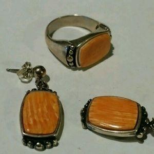 Designer Vintage Sterling Silver Ring /Earring Set