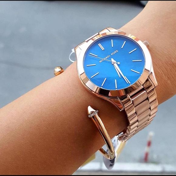 f75598a4ed2d1 💥🆕Michael Kors Slim Runway Rose Gold-tone Watch