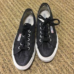 Superga Shoes - Black sparkly superga