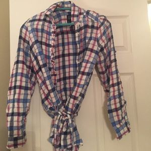 American Eagle Pink and Blue Flannel with Tie