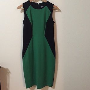 Black Green Body Con Dress