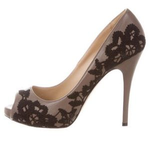Valentino Shoes - Valentino Platform Lace Black & Taupe Pumps 10 NWT