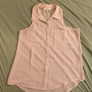 Decree Tops - Pale Pink Sheer Button up Tank