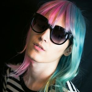 Pink Mint Green Split Half Color Wig Lady Gaga NEW
