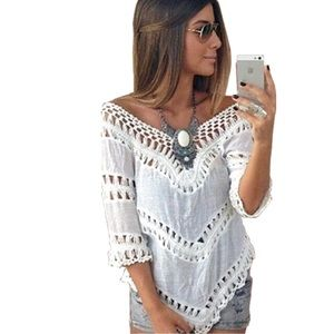 """Tops - White Crotchet Boho Beach Top """"One Size Fits Most"""""""